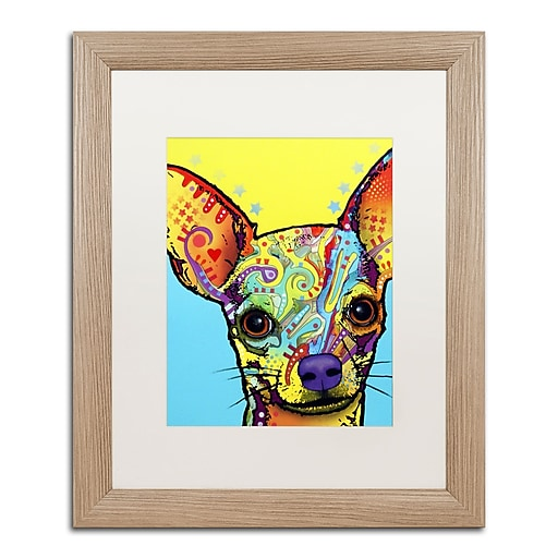 """Trademark Fine Art ''Chihuahua'' by Dean Russo 16"""" x 20"""" White Matted Wood Frame (ALI0237-T1620MF)"""