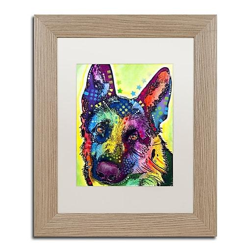 """Trademark Fine Art ''German Shepherd'' by Dean Russo 11"""" x 14"""" White Matted Wood Frame (ALI0238-T1114MF)"""