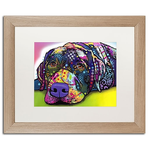 """Trademark Fine Art ''Savvy Labrador'' by Dean Russo 16"""" x 20"""" White Matted Wood Frame (ALI0242-T1620MF)"""