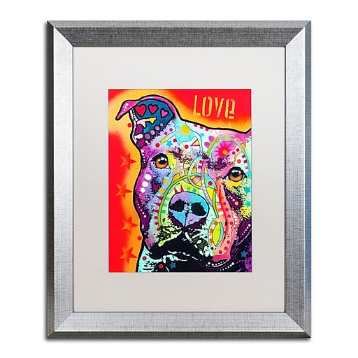 """Trademark Fine Art ''Thoughtful Pitbull'' by Dean Russo 16"""" x 20"""" White Matted Silver Frame (ALI0246-S1620MF)"""