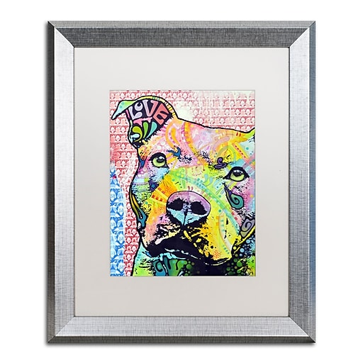 "Trademark Fine Art ''Thouthful Pittbull II'' by Dean Russo 16"" x 20"" White Matted Silver Frame (ALI0261-S1620MF)"