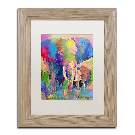 "Trademark Fine Art ''Elephant 1'' by Richard Wallich 11"" x 14"" White Matted Wood Frame (ALI0338-T1114MF)"