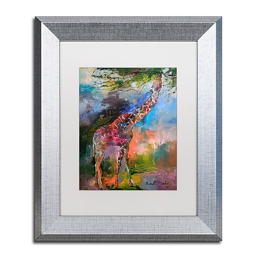 "Trademark Fine Art ''Giraffe'' by Richard Wallich 11"" x 14"" White Matted Silver Frame (ALI0345-S1114MF)"
