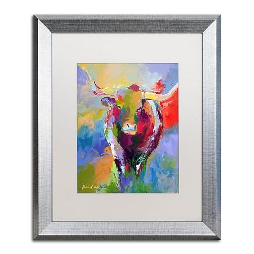 "Trademark Fine Art ''Longhorn'' by Richard Wallich 16"" x 20"" White Matted Silver Frame (ALI0348-S1620MF)"