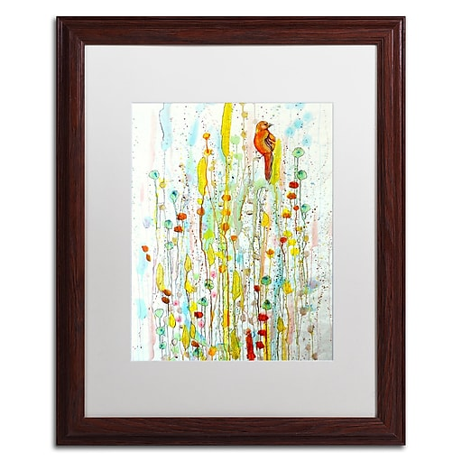 """Trademark Fine Art ''Pause'' by Sylvie Demers 16"""" x 20"""" White Matted Wood Frame (ALI0903-W1620MF)"""