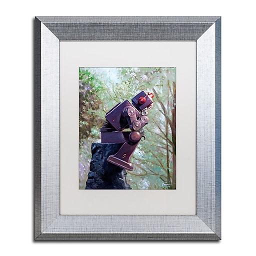 "Trademark Fine Art ''The Collator'' by Eric Joyner 11"" x 14"" White Matted Silver Frame (ALI1024-S1114MF)"