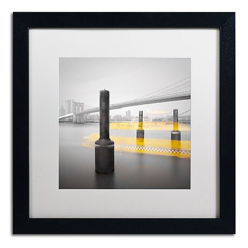 """Trademark Fine Art ''New York Water Taxi'' by Moises Levy 16"""" x 16"""" White Matted Black Frame (ALI1054-B1616MF)"""
