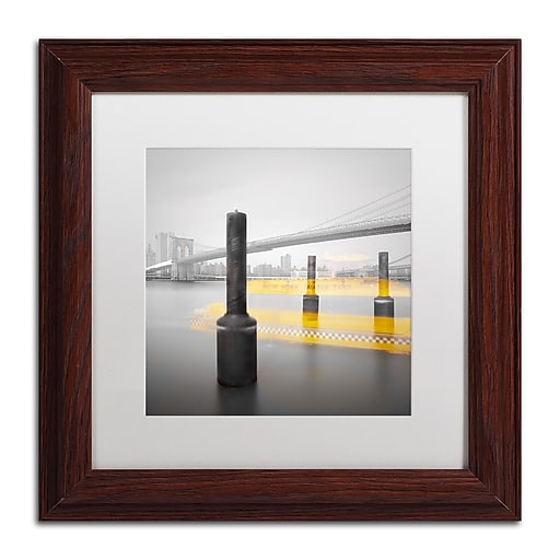 """Trademark Fine Art ''New York Water Taxi'' by Moises Levy 11"""" x 11"""" White Matted Wood Frame (ALI1054-W1111MF)"""