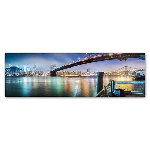 "Trademark Fine Art ''Brooklyn Bridge Panorama'' by Moises Levy 8"" x 24"" Canvas Art (ALI1055-C824GG)"