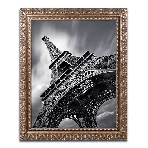 "Trademark Fine Art ''Eiffel Tower Study II'' by Moises Levy 11"" x 14"" Ornate Frame (ALI1056-G1114F)"