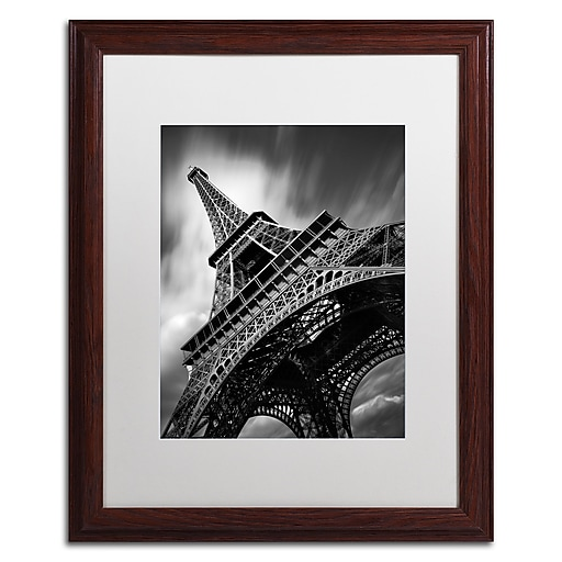"Trademark Fine Art ''Eiffel Tower Study II'' by Moises Levy 16"" x 20"" White Matted Wood Frame (ALI1056-W1620MF)"