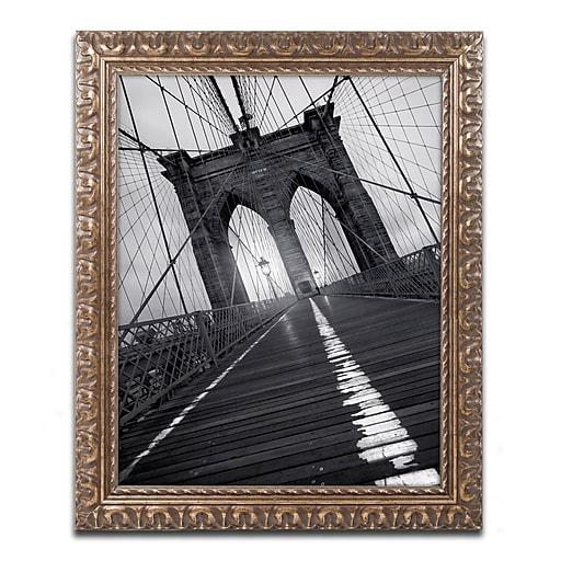 "Trademark Fine Art ''Brooklyn Bridge Study I'' by Moises Levy 11"" x 14"" Ornate Frame (ALI1057-G1114F)"