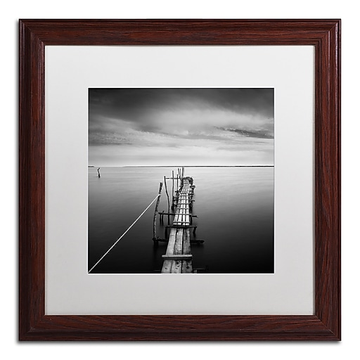 """Trademark Fine Art ''Direction'' by Moises Levy 16"""" x 16"""" White Matted Wood Frame (ALI1058-W1616MF)"""
