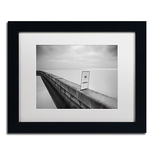 """Trademark Fine Art ''Be Happy'' by Moises Levy 11"""" x 14"""" White Matted Black Frame (ALI1060-B1114MF)"""