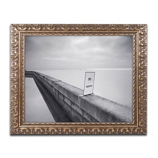 "Trademark Fine Art ''Be Happy'' by Moises Levy 11"" x 14"" Ornate Frame (ALI1060-G1114F)"
