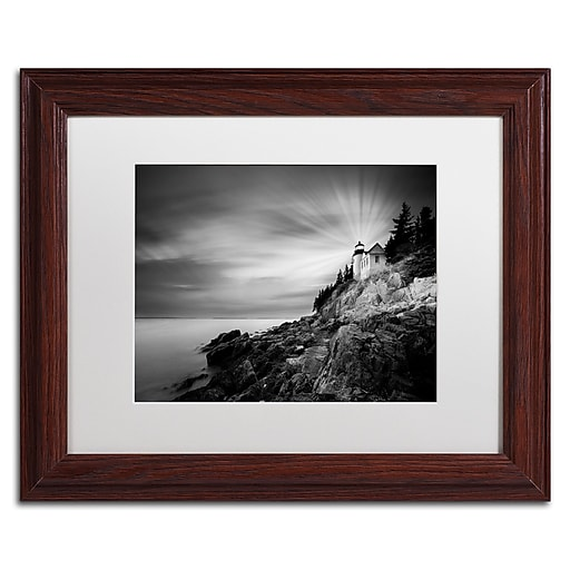 "Trademark Fine Art ''Bass Harbor Lighthouse'' by Moises Levy 11"" x 14"" White Matted Wood Frame (ALI1065-W1114MF)"