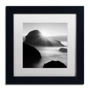 "Trademark Fine Art ''Long Sunset at Indian Beach'' by Moises Levy 11"" x 11"" White Matted Black Frame (ALI1067-B1111MF)"