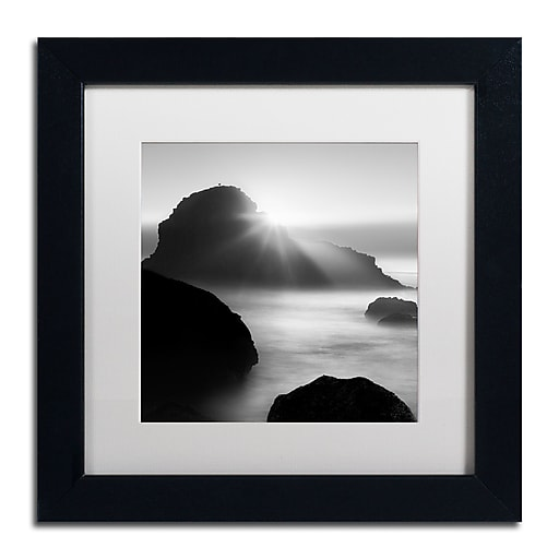 """Trademark Fine Art ''Long Sunset at Indian Beach'' by Moises Levy 11"""" x 11"""" White Matted Black Frame (ALI1067-B1111MF)"""