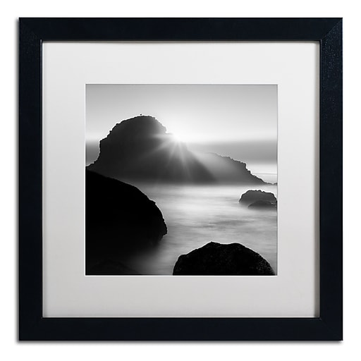 "Trademark Fine Art ''Long Sunset at Indian Beach'' by Moises Levy 16"" x 16"" White Matted Black Frame (ALI1067-B1616MF)"