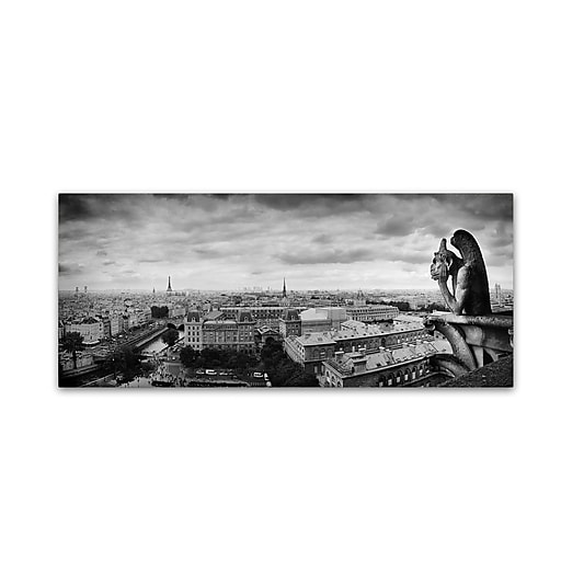 "Trademark Fine Art ''Boring in Paris'' by Moises Levy 10"" x 24"" Canvas Art (ALI1068-C1024GG)"