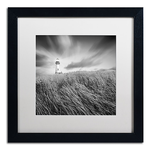 """Trademark Fine Art ''Yaquina Lighthouse III'' by Moises Levy 16"""" x 16"""" White Matted Black Frame (ALI1070-B1616MF)"""
