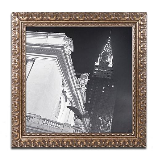 """Trademark Fine Art ''New York 003'' by Moises Levy 16"""" x 16"""" Ornate Frame (ALI1071-G1616F)"""