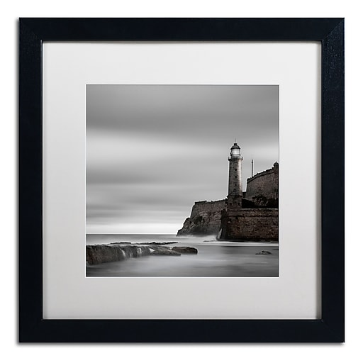 "Trademark Fine Art ''Morro Lighthouse'' by Moises Levy 16"" x 16"" White Matted Black Frame (ALI1074-B1616MF)"