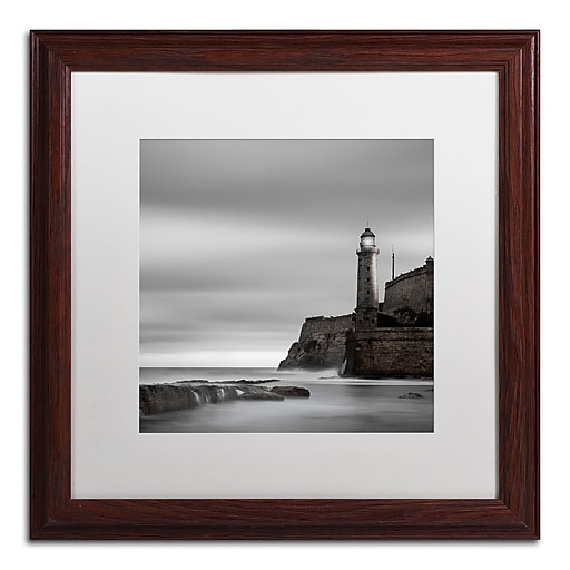 """Trademark Fine Art ''Morro Lighthouse'' by Moises Levy 16"""" x 16"""" White Matted Wood Frame (ALI1074-W1616MF)"""