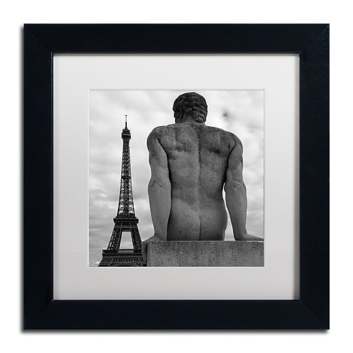 """Trademark Fine Art ''Eiffel and Man'' by Moises Levy 11"""" x 11"""" White Matted Black Frame (ALI1075-B1111MF)"""