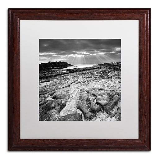 """Trademark Fine Art ''Sunset at Point Lobos'' by Moises Levy 16"""" x 16"""" White Matted Wood Frame (ALI1082-W1616MF)"""