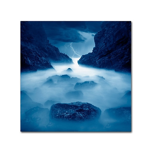 "Trademark Fine Art ''Tormenta en Ixtapa Blue'' by Moises Levy 18"" x 18"" Canvas Art (ALI1083-C1818GG)"