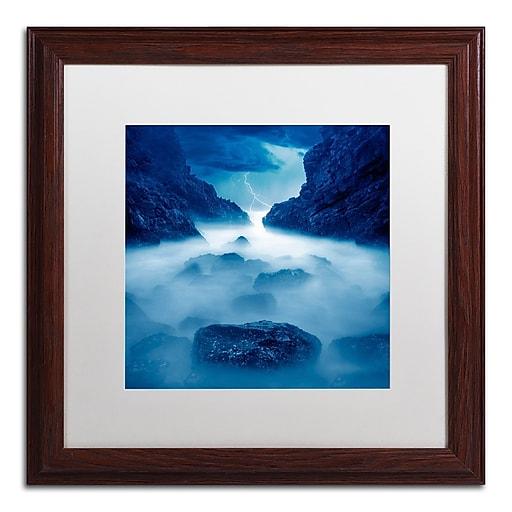 "Trademark Fine Art ''Tormenta en Ixtapa Blue'' by Moises Levy 16"" x 16"" White Matted Wood Frame (ALI1083-W1616MF)"
