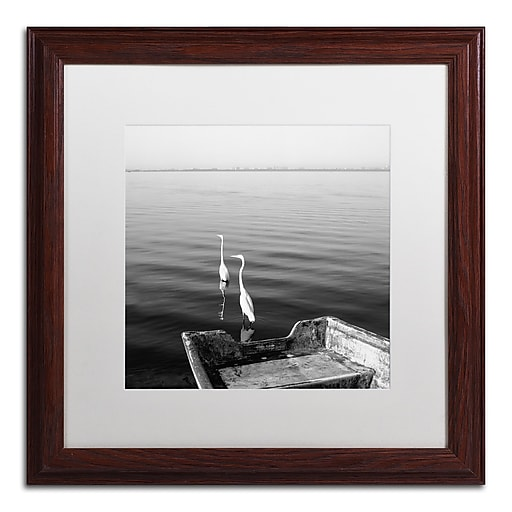 """Trademark Fine Art ''2 Herons Leaving'' by Moises Levy 16"""" x 16"""" White Matted Wood Frame (ALI1085-W1616MF)"""