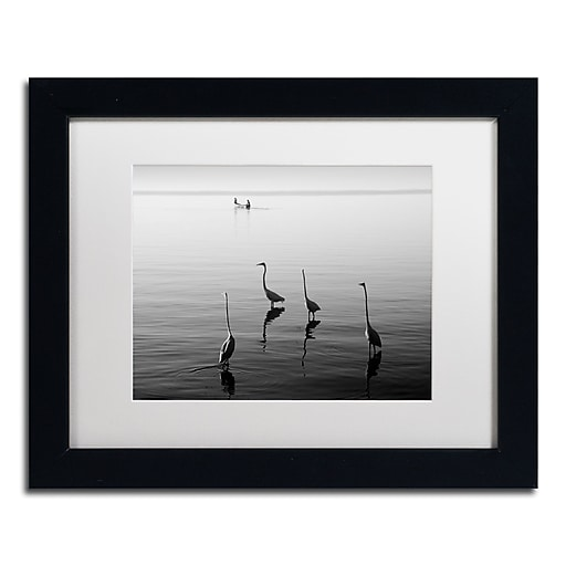 """Trademark Fine Art ''4 Herons and Boat'' by Moises Levy 11"""" x 14"""" White Matted Black Frame (ALI1088-B1114MF)"""