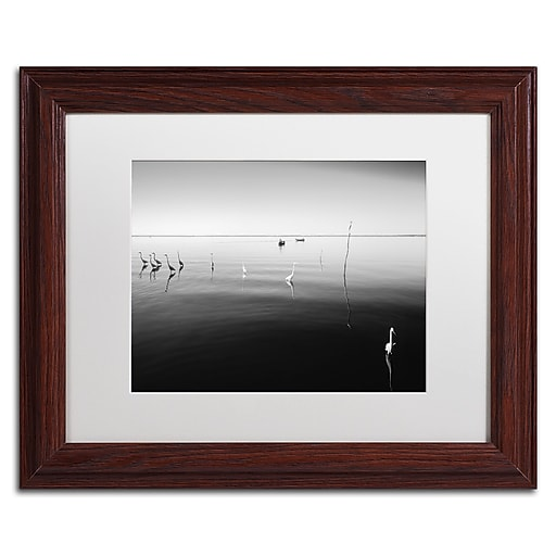 """Trademark Fine Art ''11 Herons'' by Moises Levy 11"""" x 14"""" White Matted Wood Frame (ALI1090-W1114MF)"""