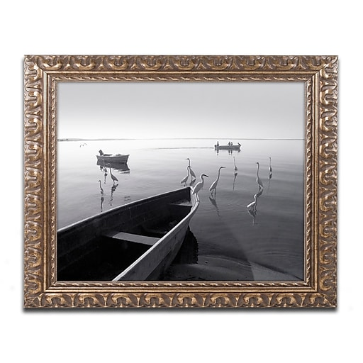 """Trademark Fine Art ''Herons and 3 Boats'' by Moises Levy 11"""" x 14"""" Ornate Frame (ALI1091-G1114F)"""
