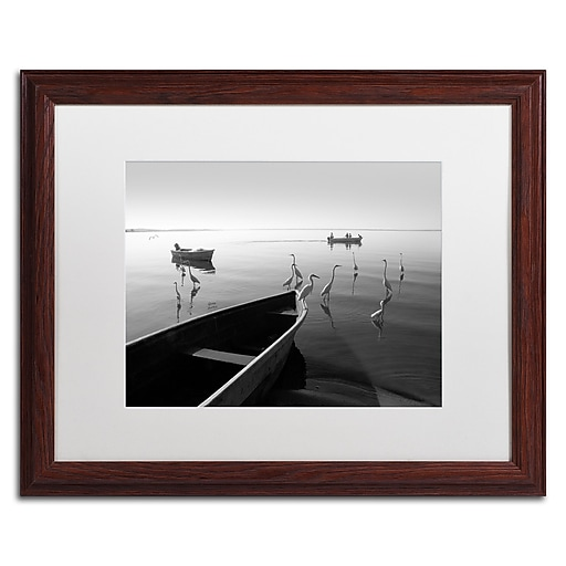 """Trademark Fine Art ''Herons and 3 Boats'' by Moises Levy 16"""" x 20"""" White Matted Wood Frame (ALI1091-W1620MF)"""
