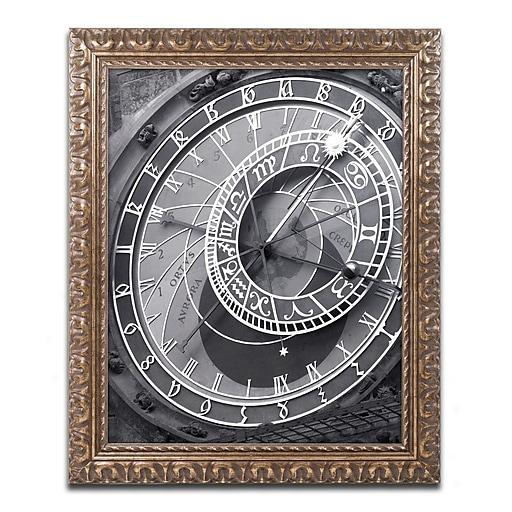 "Trademark Fine Art ''Astronomic Watch Prague 11'' by Moises Levy 11"" x 14"" Ornate Frame (ALI1094-G1114F)"