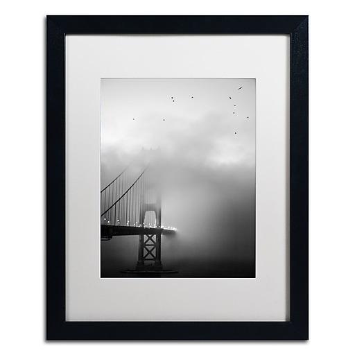 "Trademark Fine Art ''Golden Gate and Birds'' by Moises Levy 16"" x 20"" White Matted Black Frame (ALI1095-B1620MF)"