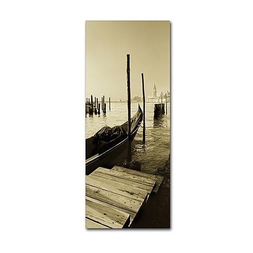 "Trademark Fine Art ''Gondola and San Marco Antique'' by Moises Levy 10"" x 24"" Canvas Art (ALI1096-C1024GG)"