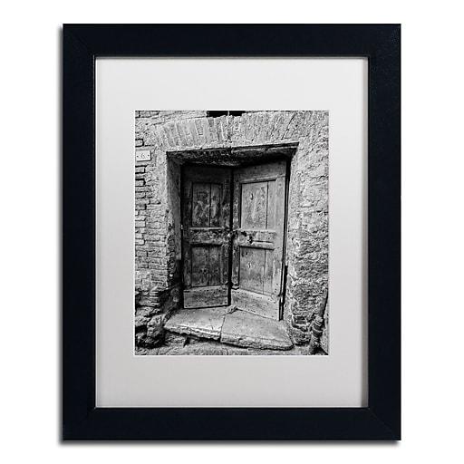 """Trademark Fine Art ''Siena Door'' by Moises Levy 11"""" x 14"""" White Matted Black Frame (ALI1100-B1114MF)"""