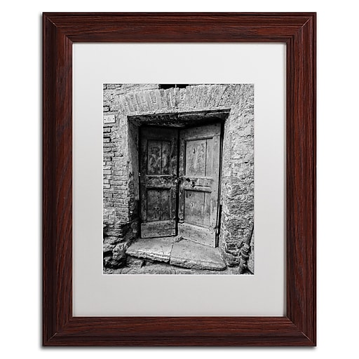 "Trademark Fine Art ''Siena Door'' by Moises Levy 11"" x 14"" White Matted Wood Frame (ALI1100-W1114MF)"
