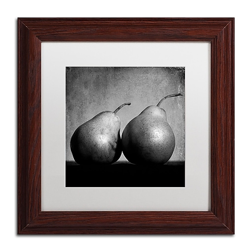 """Trademark Fine Art ''Coqueteo Peras'' by Moises Levy 11"""" x 11"""" White Matted Wood Frame (ALI1103-W1111MF)"""
