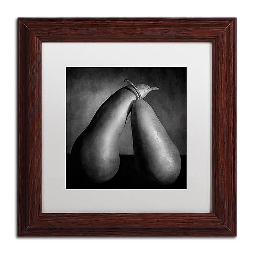 """Trademark Fine Art ''Peras Tiernas'' by Moises Levy 11"""" x 11"""" White Matted Wood Frame (ALI1104-W1111MF)"""