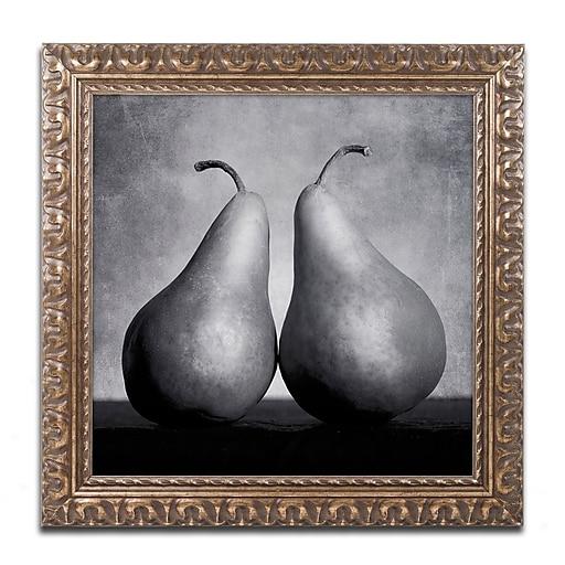 "Trademark Fine Art ''Peras Enamoradas'' by Moises Levy 11"" x 11"" Ornate Frame (ALI1106-G1111F)"