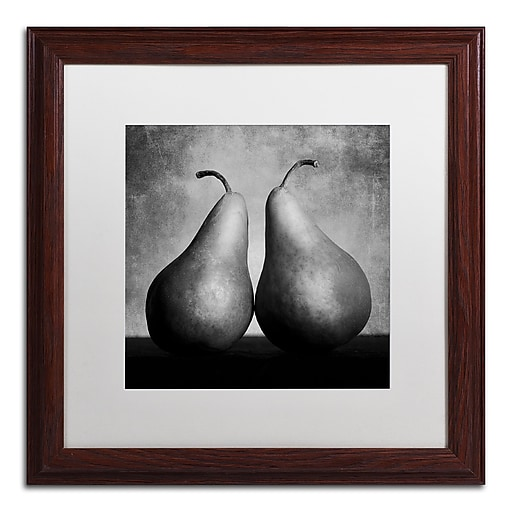 "Trademark Fine Art ''Peras Enamoradas'' by Moises Levy 16"" x 16"" White Matted Wood Frame (ALI1106-W1616MF)"