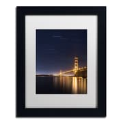 "Trademark Fine Art ''Golden Gate and Stars'' by Moises Levy 11"" x 14"" White Matted Black Frame (ALI1111-B1114MF)"