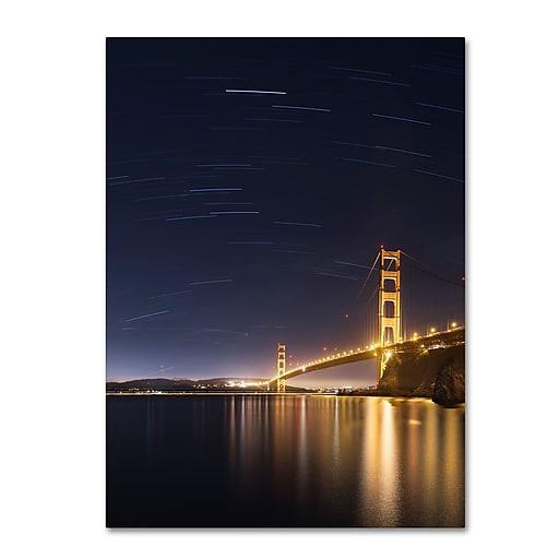 "Trademark Fine Art ''Golden Gate and Stars'' by Moises Levy 24"" x 32"" Canvas Art (ALI1111-C2432GG)"