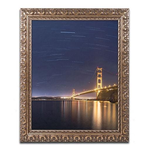 """Trademark Fine Art ''Golden Gate and Stars'' by Moises Levy 11"""" x 14"""" Ornate Frame (ALI1111-G1114F)"""