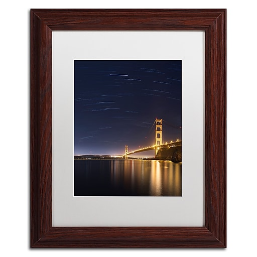 """Trademark Fine Art ''Golden Gate and Stars'' by Moises Levy 11"""" x 14"""" White Matted Wood Frame (ALI1111-W1114MF)"""